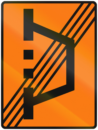 on temporary: Norwegian road sign - End of temporary detour. Stock Photo