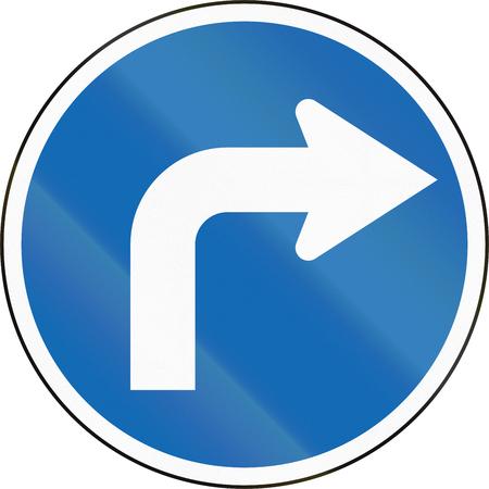 new zealand: New Zealand road sign RG-13 - Turn right.
