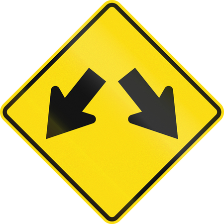 diverge: New Zealand road sign - Lane diverges.