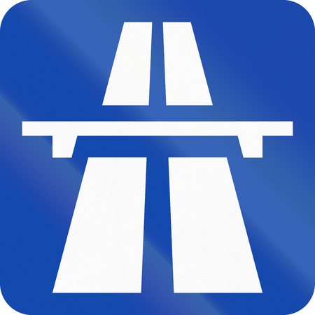 motorway: Norwegian road sign - Square motorway sign. Stock Photo