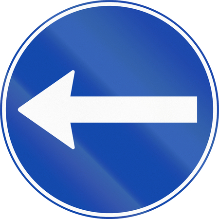 turn left: Norwegian mandatory direction sign - Turn left.