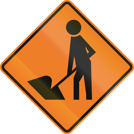 temporary workers: New Zealand road sign - Road Workers ahead, use extra caution.