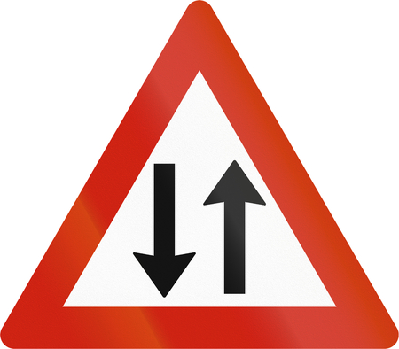 opposing: Norwegian road warning sign - Opposing traffic. Stock Photo