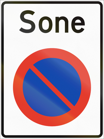 regulatory: Norwegian regulatory road sign - No parking zone. Sone means Zone.