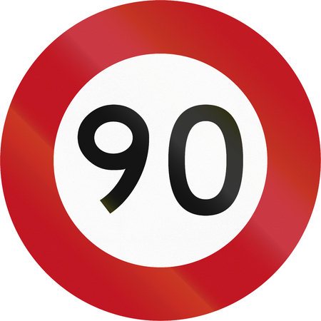 90: New Zealand road sign RG-1 - 90 kmh limit.