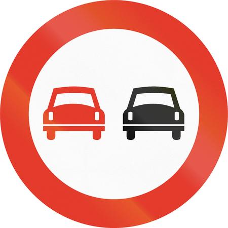 overtaking: Norwegian regulatory road sign - No overtaking. Stock Photo