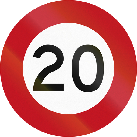 kmh: New Zealand road sign R1-1 - 20 kmh limit. Stock Photo