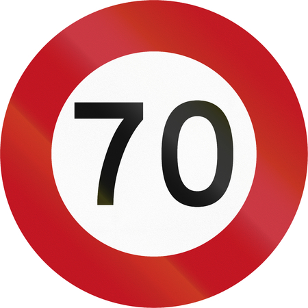 quadratic: New Zealand road sign RG-1 - 70 kmh limit.