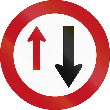 give the way: New Zealand road sign RG-19 - Give Way (to oncoming vehicles).