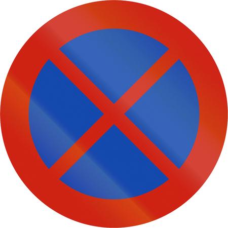 stopping: Norwegian regulatory road sign - No stopping.