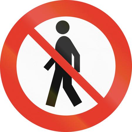 pedestrians: Norwegian regulatory road sign - No Pedestrians.