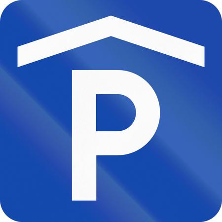car park: Norwegian road sign - Multi-storey car park. Stock Photo