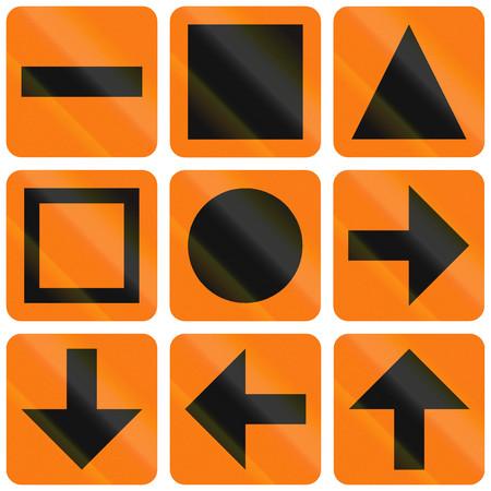 detour: Collection of Norwegian detour symbols and arrows.