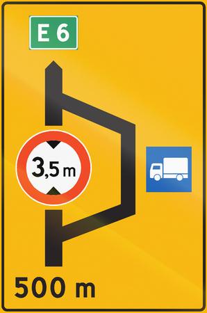 Norwegian road sign - Detour for trucks.