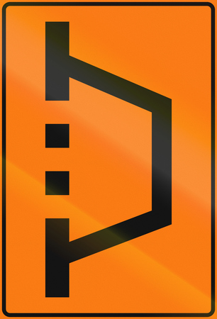 on temporary: Norwegian road sign - Temporary detour sign. Stock Photo