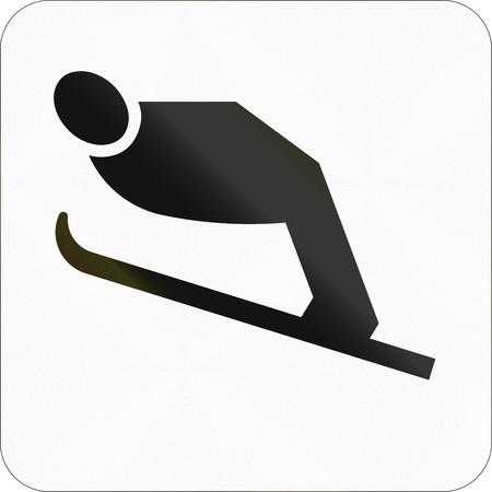 the slope: Other Norwegian information road sign - Ski jump slope.