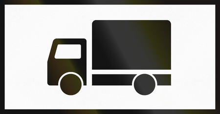 supplementary: Norwegian supplementary road sign - Sign applies to Trucks. Stock Photo