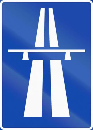 multiple lane highway: Norwegian regulatory road sign - Motorway begins.