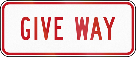 supplementary: New Zealand road sign RG-6R - Supplementary Give Way plate.