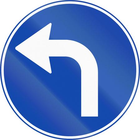 turn left sign: Norwegian mandatory direction sign - Turn left ahead. Stock Photo