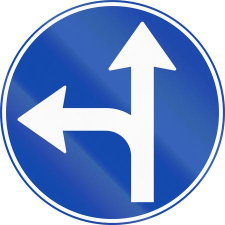 mandatory: Norwegian mandatory direction sign - Go left or straight.