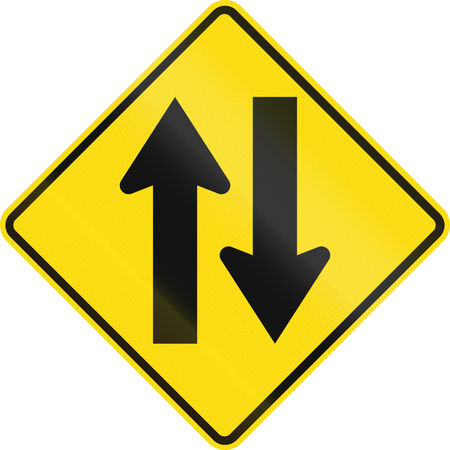 opposing: New Zealand road sign - Two-way traffic.