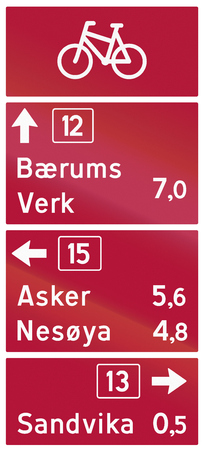 Norwegian road sign - Board guide for cyclists. Stok Fotoğraf