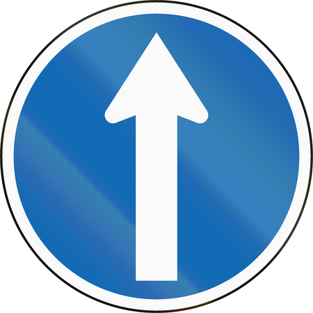 proceed: New Zealand road sign RG-10 - Proceed forward, no turns.