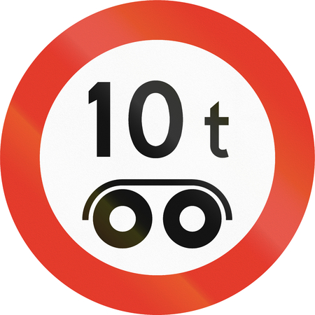 bogie: Norwegian regulatory road sign - Bogie weight limit.