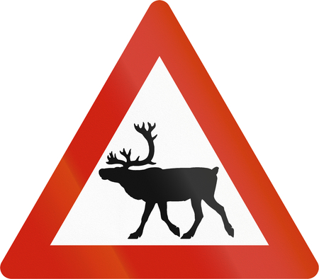 road warning sign: Norwegian road warning sign - Stag crossing. Stock Photo