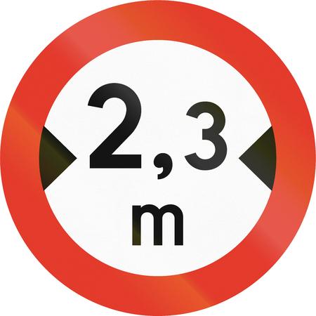 width: Norwegian regulatory road sign - No vehicles over 2.3 meters in width.