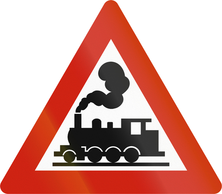 road warning sign: Norwegian road warning sign - Unguarded level crossing. Stock Photo