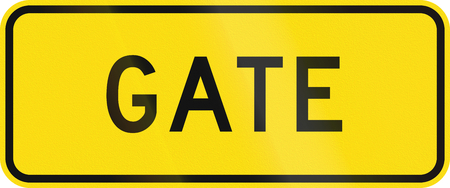 auxiliary: New Zealand road warning sign - Gate. Stock Photo
