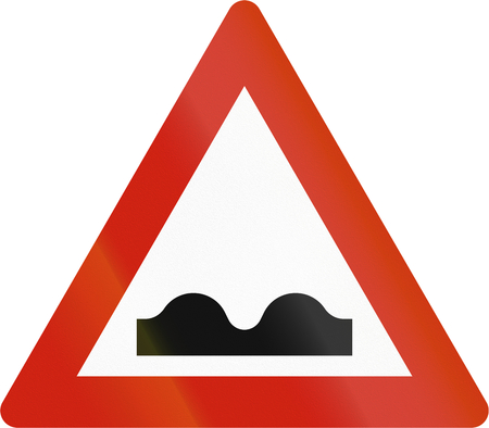 road warning sign: Norwegian road warning sign - Uneven road.