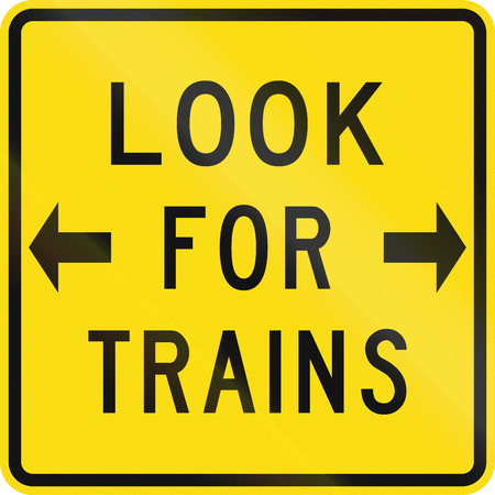 new zealand word: New Zealand road sign - Look for trains before crossing tracks.