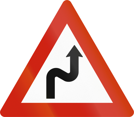 road warning sign: Norwegian road warning sign - Double curve ahead.
