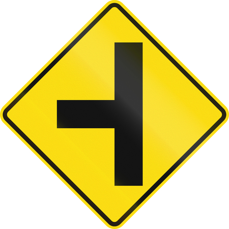 junction: New Zealand road sign - Side road junction uncontrolled on left.