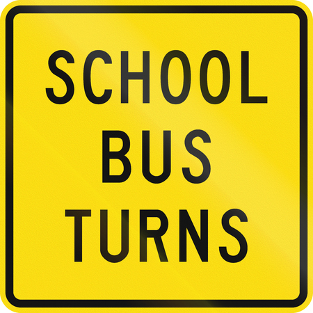 turns: New Zealand road sign - School bus turns.
