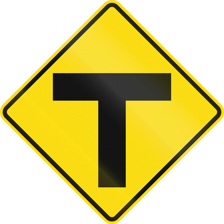 uncontrolled: New Zealand road sign - Uncontrolled T-junction ahead.