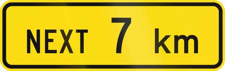 kilometres: New Zealand road sign - Sign effective for the next 7 kilometres. Stock Photo