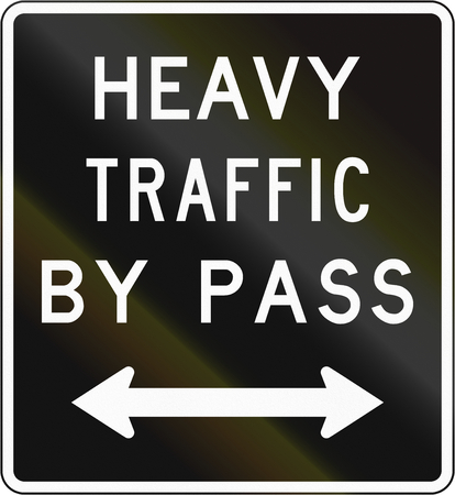 new direction: Old version of the New Zealand road sign - Bypass for heavy vehicles in either direction.