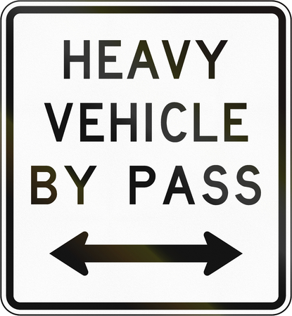 new direction: New Zealand road sign - Bypass for heavy vehicles in either direction.