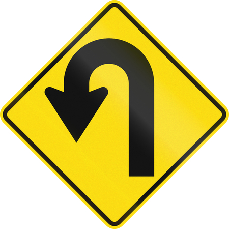 greater: New Zealand road sign - Curve greater than 120 degrees to left.