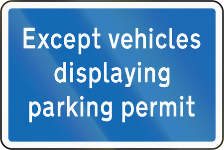 parking sign: New Zealand road sign - Vehicles with parking permit exempt. Stock Photo