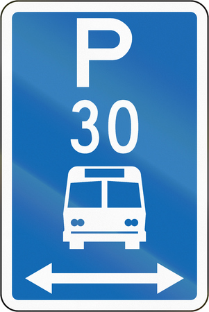 time limit: New Zealand road sign - Parking zone for buses with time limit, on both sides of this sign.