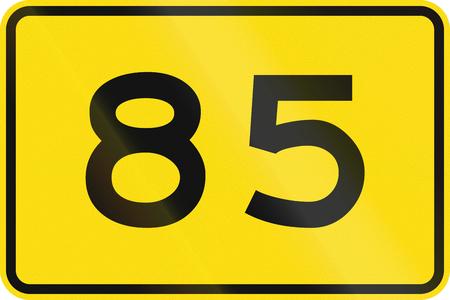 advisory: New Zealand road sign - Advisory speed of 85 kmh.