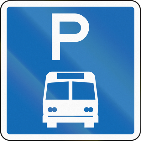 time limit: New Zealand road sign - Parking zone for buses with no time limit. Stock Photo