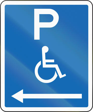 physical impairment: New Zealand road sign - Parking zone reserved for disabled persons with no time limit, on the left of this sign.