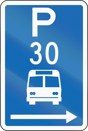 time limit: New Zealand road sign - Parking zone for buses with time limit, on the right of this sign. Stock Photo