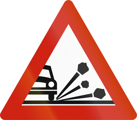 chippings: Norwegian road warning sign - Loose chippings.